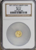 California Fractional Gold: , 1871 50C Liberty Octagonal 50 Cents, BG-912, R.3, MS63 NGC. NGCCensus: (7/5). PCGS Population (45/33). (#10770)...