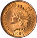 Indian Cents, 1891 1C MS66 Red PCGS....