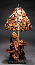 Lapidary Art:Carvings, TIFFANY-STYLE PETRIFIED WOOD LAMP SHADE. ...