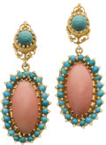 Estate Jewelry:Earrings, Coral, Turquoise, Gold Earrings. ... (Total: 2 Items)
