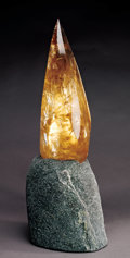 """Lapidary Art:Carvings, CITRINE """"FLAME"""" ON LIT STONE BASE. ..."""