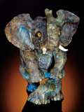 Lapidary Art:Carvings, LABRADORITE ELEPHANT WITH BRIGHT BLUE SCHILLER. ...