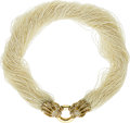Estate Jewelry:Necklaces, Keshi Pearl, Diamond, Gold Necklace. ...