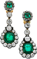 Estate Jewelry:Earrings, Antique Emerald, Diamond, Silver-Topped Gold Earrings. ... (Total:2 Items)
