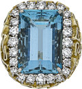 Estate Jewelry:Rings, Aquamarine, Diamond, Gold Ring, English. ...
