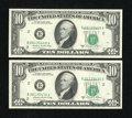 Error Notes:Shifted Third Printing, Fr. 2026-B $10 1981A Federal Reserve Notes. Two Examples. Very Choice Crisp Uncirculated.. ... (Total: 2 notes)
