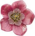 Estate Jewelry:Brooches - Pins, Colored Diamond, Rhodochrosite, Frosted Rock Crystal Quartz, GoldBrooch. ...