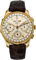 Timepieces:Wristwatch, Doxa Gold Triple Calendar Chronograph Wristwatch, circa 1945. ...