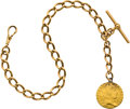 Timepieces:Watch Chains & Fobs, Gold Albert Watch Chain & Coin Fob, circa 1885. ...