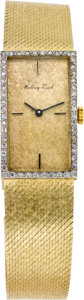 Timepieces:Wristwatch, Mathey Tissot Gent's Gold Diamond Bezel Wristwatch, circa 1970. ...