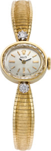 Timepieces:Wristwatch, Rolex Lady's Diamond & Gold Wristwatch, circa 1970's. ...