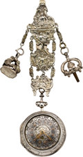 Timepieces:Pocket (pre 1900) , Samson London Repousse Verge with Date & Chatelaine, circa 1790. ...