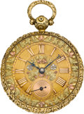 Timepieces:Pocket (pre 1900) , R. Hess Liverpool Multicolor Dial Gold Fusee, circa 1840's. ...