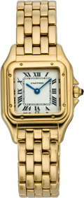 Timepieces:Wristwatch, Cartier Lady's Gold Panther Wristwatch, circa 1990's, Property Sold to Benefit the Amanda Foundation. ...