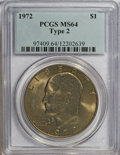 Eisenhower Dollars, 1972 $1 Type Two MS64 PCGS. PCGS Population (323/47). Numismedia Wsl. Price for NGC/PCGS coin in MS64: ...
