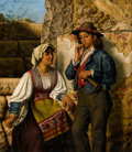 Fine Art - Painting, European:Antique  (Pre 1900), EMAN. R. GINZEL (active circa 1850). A Young Italian Couple.Oil on canvas. 36-5/8 x 31-7/8 inches (93.0 x 80.8 cm). Sig...