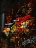 Fine Art - Painting, European:Antique  (Pre 1900), Manner of JAN DAVIDSZ. DE HEEM (Dutch, 1606-1684). Still Lifewith Fruits and Lobster. Oil on copper. 19-7/8 x 14-1/8 in...