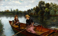 WILLIAM HENRY BARTLETT (British, 1858-1932) An Idle Afternoon, 1880 Oil on canvas 22-1/2 x 36 inc