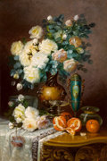 Fine Art - Painting, European:Antique  (Pre 1900), MAX CARLIER (Belgian, 1872-1939). White Roses, Oranges, andPorcelain Urn on Draped Table. Oil on canvas. 35-3/8 x 27-1/...