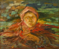 Fine Art - Painting, Russian, FILIPP MALYAVIN (Russian, 1869-1940). Portrait of a Woman.Oil on canvas. 20 x 24 inches (50.8 x 61.0 cm). Signed lower ...