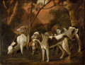 Fine Art - Painting, European:Antique  (Pre 1900), CONTINENTAL SCHOOL (18th Century). Foxhounds, 1775. Oil oncanvas. 33-1/2 x 43-1/2 inches (85.1 x 110.5 cm). Signed lowe...
