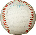Autographs:Baseballs, 1965 Kansas City A's Team Signed Ball with Satchel Paige....