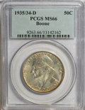 Commemorative Silver: , 1935/34-D 50C Boone MS66 PCGS. PCGS Population (157/57). NGC Census: (114/65). Mintage: 2,003. Numismedia Wsl. Price for NG...