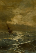 Fine Art - Painting, European, IVAN KONSTANTINOVICH AIVAZOVSKY (Russian, 1817-1900). Seascape. Oil on board. 10 x 7-1/2 inches (25.4 x 19.1 cm). Signed...