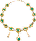 Estate Jewelry:Necklaces, Emerald, Cultured Pearl, Gold Necklace. ...