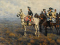 Fine Art - Painting, European:Modern  (1900 1949)  , HUGO UNGEWITTER (German, b. 1869). Frederick the Great Surveyingthe Field of Battle, 1922. Oil on canvas. 32-1/2 x 43-1...
