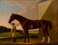 Fine Art - Painting, European:Antique  (Pre 1900), BENJAMIN KILLINGBECK (British, 1730-1830). A Chestnut Racehorse Held by a Groom. Oil on canvas. 51 x 40-1/4 inches (129....