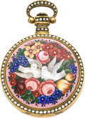 Timepieces:Pocket (pre 1900) , Swiss Chinese Market Duplex with Enamel & Pearl Case, circa1835. ...