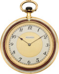 Timepieces:Pocket (post 1900), Movado Gent's Gold and Enamel Pocket Watch, circa 1925. ...