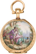 Timepieces:Pocket (pre 1900) , Vacheron & Constantin Miniature Gold & Enamel PendantWatch, circa 1890. ...