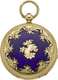Timepieces:Pocket (pre 1900) , Patek Philippe Early Enamel & Gold Pocket Watch, circa 1856....