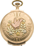 Timepieces:Pocket (post 1900), Elgin Fancy Dial Multicolor Gold Box Hinge Pocket Watch, circa1922. ...