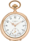 Timepieces:Pocket (pre 1900) , Patek Philippe & Cie Very Fine & Rare Gold Minute Repeaterwith Chronograph, circa 1897. ...