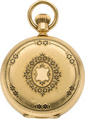 Timepieces:Pocket (pre 1900) , Patek Philippe Gold & Enamel Hunters Case Pocket Watch, circa1869. ...
