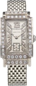 Timepieces:Wristwatch, Hamilton White Gold Wristwatch with Diamond Dial & Bezel, circa 1940's. ...