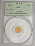 California Fractional Gold: , 1874/3 50C Indian Octagonal 50 Cents, BG-945, High R.4, MS62 PCGS.PCGS Population (12/27). NGC Census: (4/5). (#10803)...