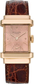 "Timepieces:Wristwatch, Patek Philippe Rose Gold ""Top Hat"" Wristwatch, circa 1940's. ..."