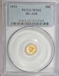 California Fractional Gold: , 1853 50C Liberty Round 50 Cents, BG-428, R.3, MS62 PCGS. PCGSPopulation (76/33). NGC Census: (11/6). (#10464)...