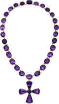Estate Jewelry:Necklaces, Foilbacked Amethyst, Silver, Gold Enhancer-Necklace. ...