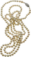 Estate Jewelry:Necklaces, Natural Pearl, Diamond, White Gold Necklace. ...