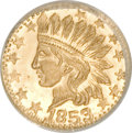 California Gold Charms, 1853 Dated Round California Gold Token, Wreath Type MS66 NGC. .25 gram....