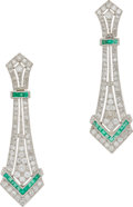 Estate Jewelry:Earrings, Diamond, Emerald, Gold Earrings. ... (Total: 2 Items)