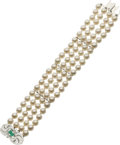 Estate Jewelry:Bracelets, Cultured Pearl, Diamond, Emerald, White Gold Bracelet. ...