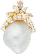 Estate Jewelry:Boxes, South Sea Cultured Pearl, Diamond, Gold Enhancer. ...
