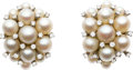 Estate Jewelry:Earrings, Cultured Pearl, Diamond, White Gold Earrings. ... (Total: 2 Items)