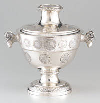 A CONTINENTAL SILVER TWO-HANDLED TUREEN AND COVER 19th Century 14 x 15 x 11 inches (35.6 x 38.1 x 27.9 cm) <